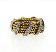 Tiffany & Co Schlumberger Gold Platinum Diamond Rope Ring