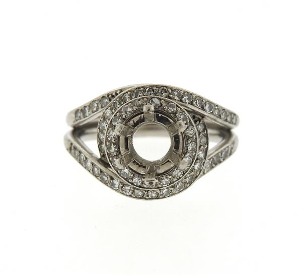 1950s Mellerio Platinum Diamond Engagement Ring Mounting