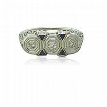 Deco Filigree 18k Gold Diamond Sapphire Ring