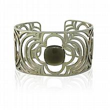 Heidi Klum Sterling Smokey Stone Cuff Bracelet