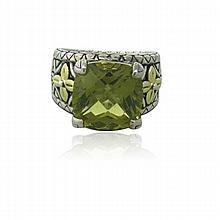 18k Gold Sterling Smokey Green Stone Ring