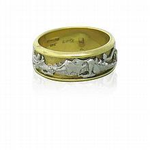 18k Gold Platinum Dragon Band Ring