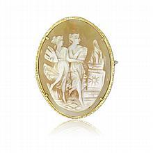 18k Gold Shell Cameo Pendant Pin