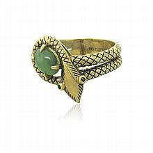 Antique 10k Gold Gemstone Snake Ring