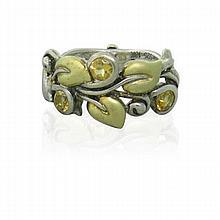 18k Gold Sterling Orange Stone Leaf Ring