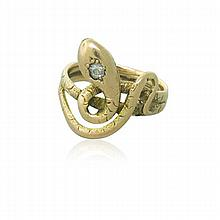Antique Victorian Gold Diamond Snake Ring