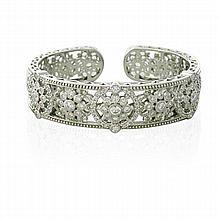 Judith Ripka Sterling Silver CZ Cuff Bracelet