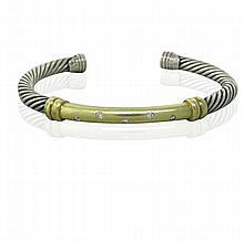 David Yurman 14K Gold Sterling Silver Diamond Cuff Bracelet