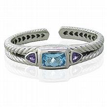 Judith Ripka Sterling Silver Topaz Amethyst Cuff Bracelet