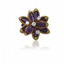 1960s 18K Gold Amethyst Diamond Ring