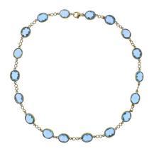18K Gold Blue Gemstone Station Necklace