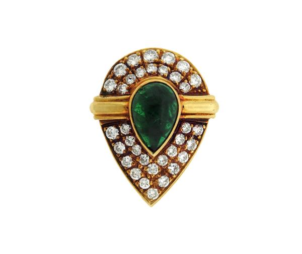 18K Gold Diamond Green Stone Enhancer Pendant