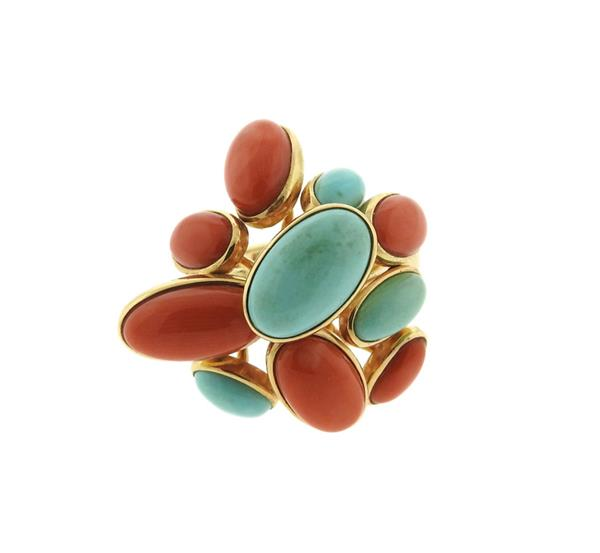 Funky 14K Gold Turquoise Coral Ring