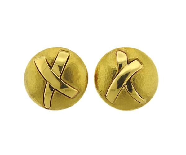 Tiffany & Co Paloma Picasso 18K Gold Round X Earrings