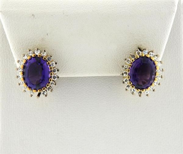18K Gold Diamond Purple Stone Oval Earrings