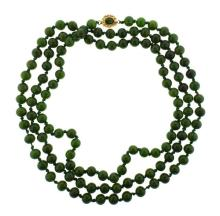 Long 10K Gold Nephrite Bead Necklace