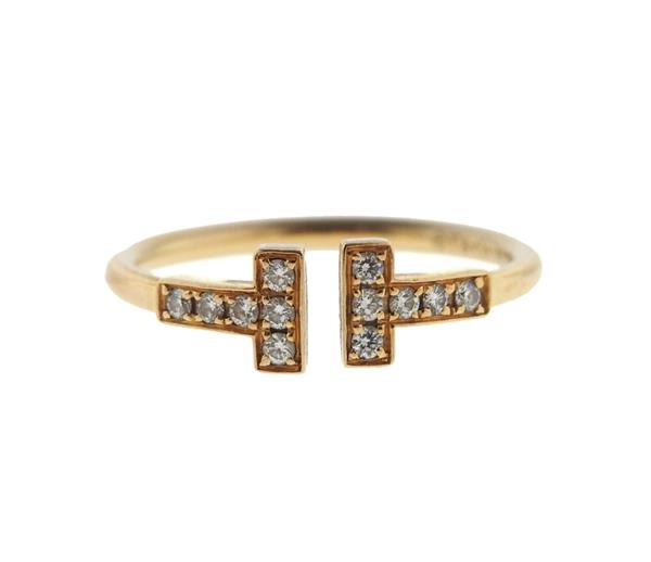 Tiffany & Co 18K Gold Diamond T Wire Ring