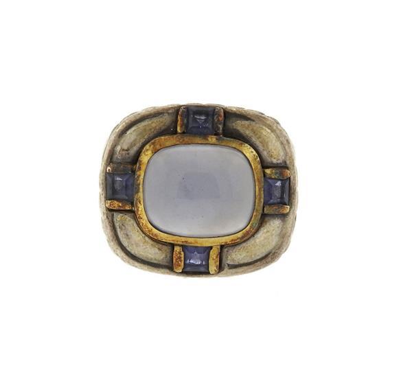 David Yurman 14K Gold Sterling Chalcedony Iolite Ring