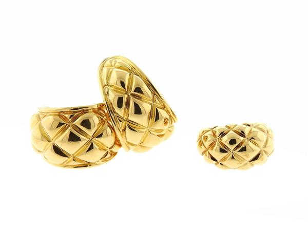 Chaumet 18K Gold Earrings Ring Set