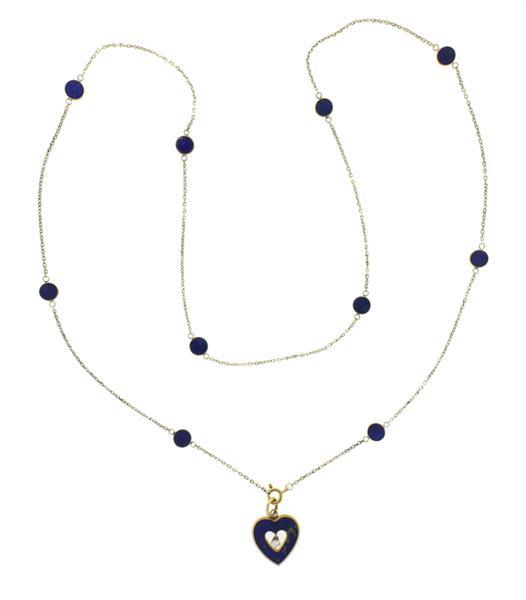 14K Gold Diamond Lapis Heart Pendant Necklace