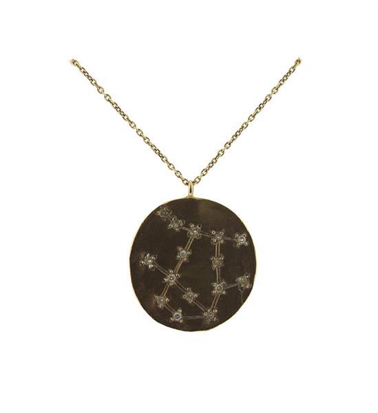 14k Gold Diamond Gemini Zodiac Sign Necklace