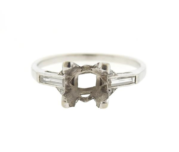 Art Deco Platinum Diamond Engagement Ring Mounting