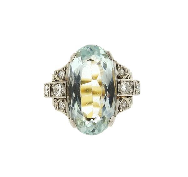 18K Gold Platinum Aquamarine Diamond Ring