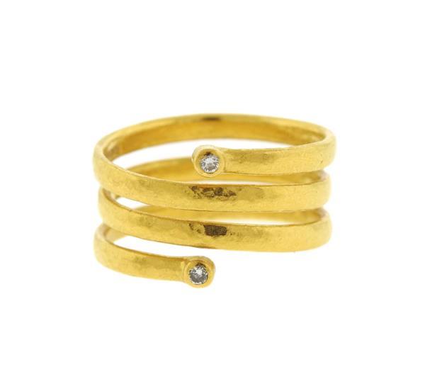 Gurhan 24k Gold Diamond Spiral 3 Strand Ring
