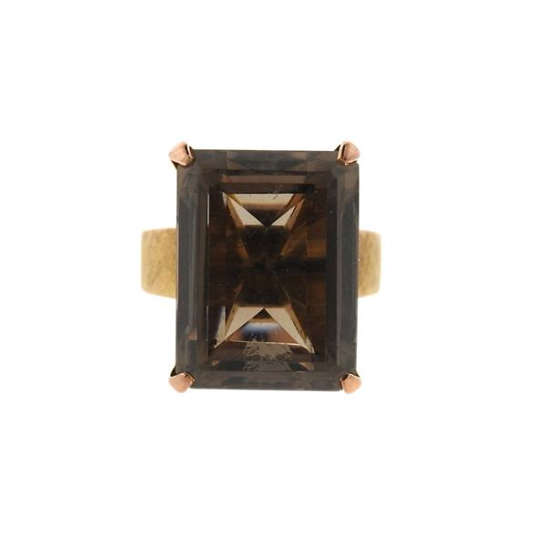 14K Gold Smokey Topaz Cocktail Ring