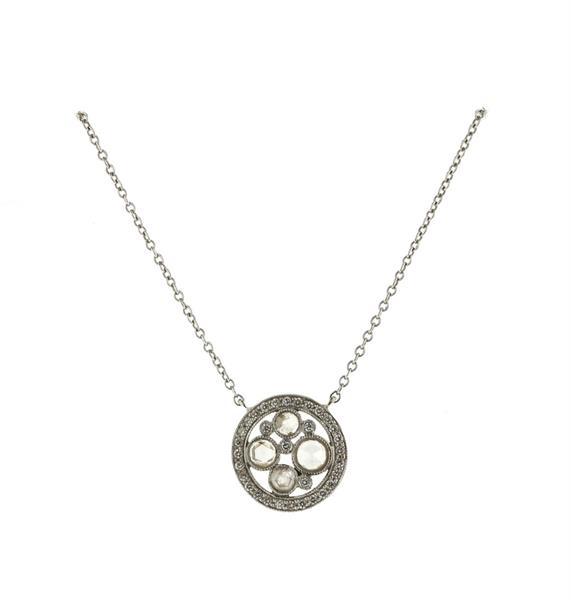 Tiffany & Co Platinum Diamond Cobblestone Pendant Necklace
