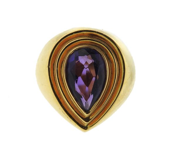 18k Gold Amethyst Teardrop Ring