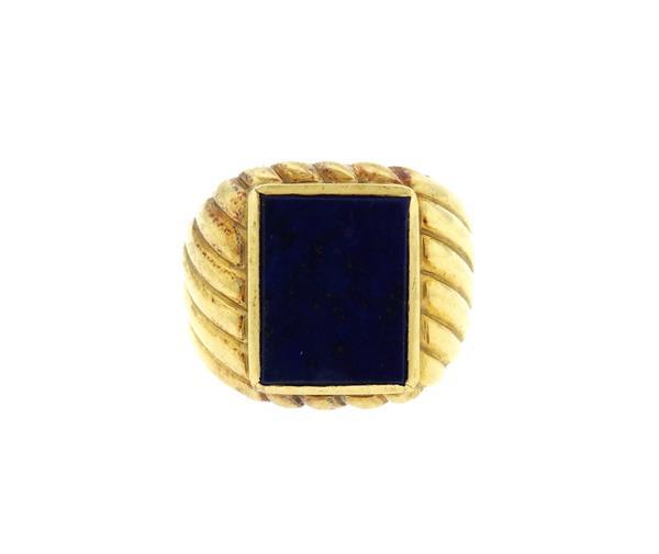 Italian 18k Gold Lapis Ring