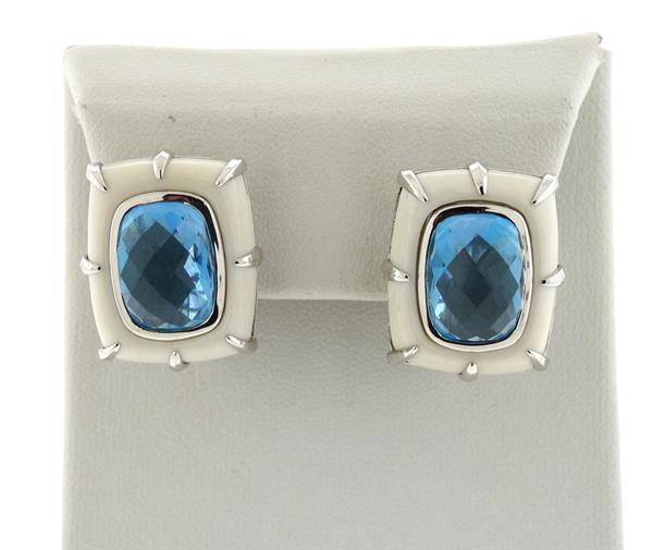 14K Gold Blue Topaz White Stone Earrings