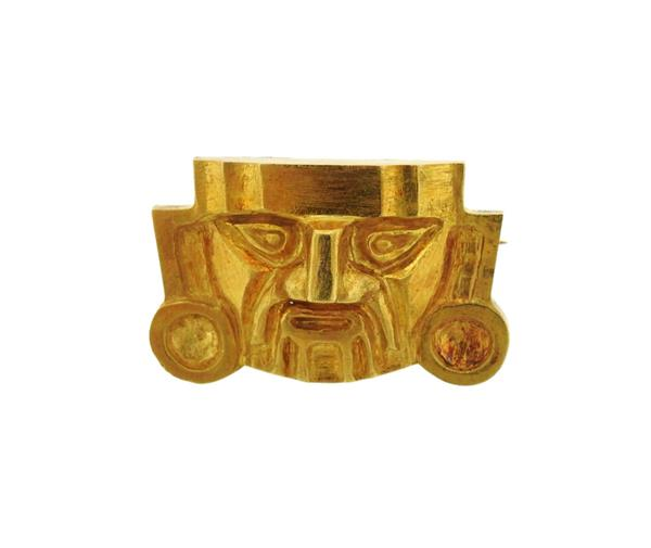 High Karat Gold Inca Style Mask Brooch Pendant