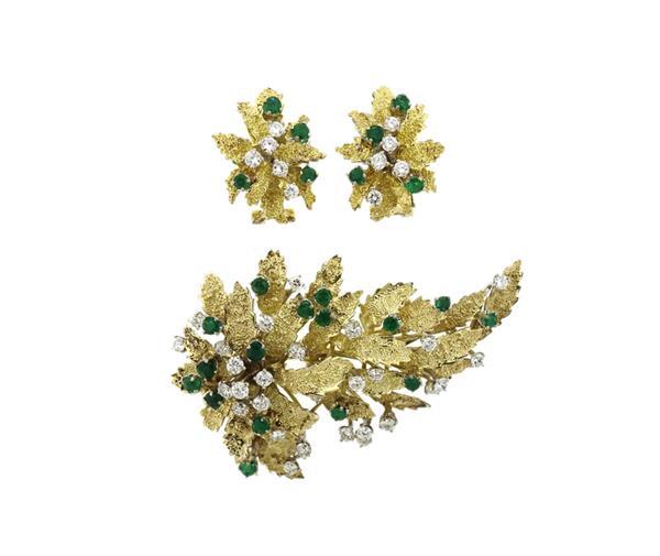 14K Gold Emerald Diamond Leaf Motif Brooch Earrings Set