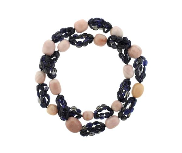 Long Rose Quartz Iolite Bead Necklace