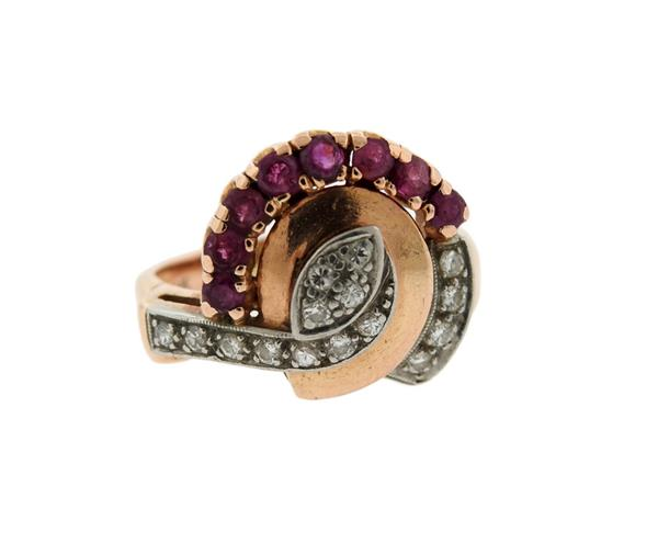 Retro Platinum 14K Gold Diamond Red Stone Ring