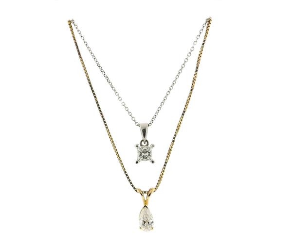 14k 10k Gold Diamond Pendant Necklace Lot of 2