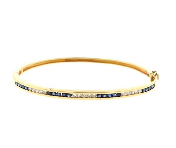 14K Gold Diamond Sapphire Bangle Bracelet
