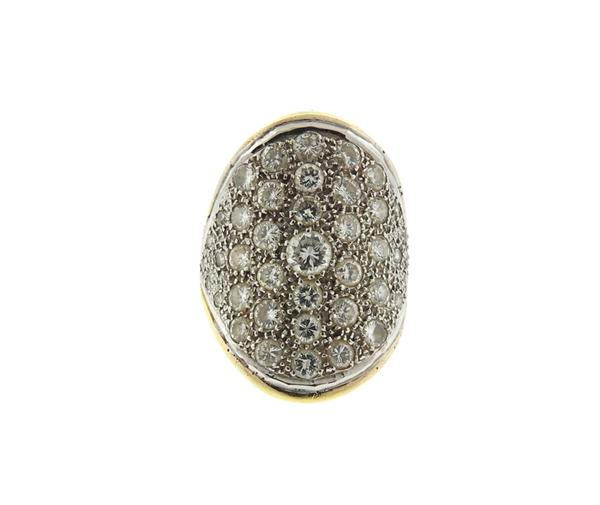 18K Gold Diamond Dome Ring