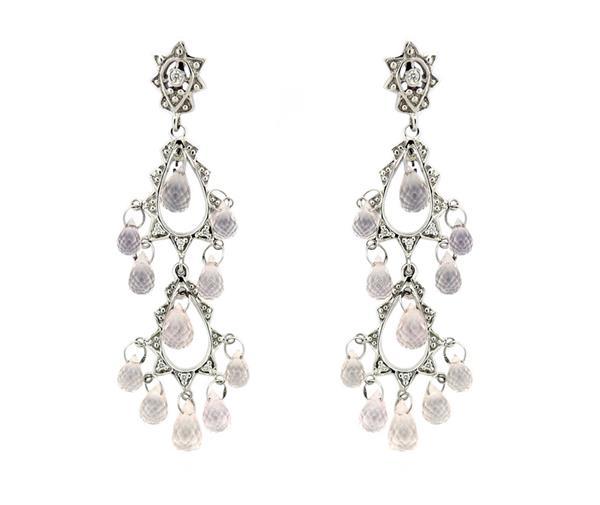 18K Gold Diamond White Sapphire Chandelier Earrings