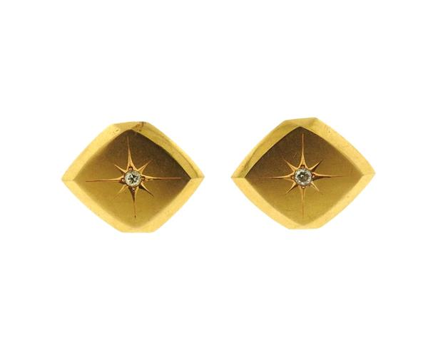 Mid Century 18K Gold Diamond Cufflinks