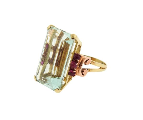 Retro 14K Gold 29ct Aquamarine Ruby Cocktail Ring