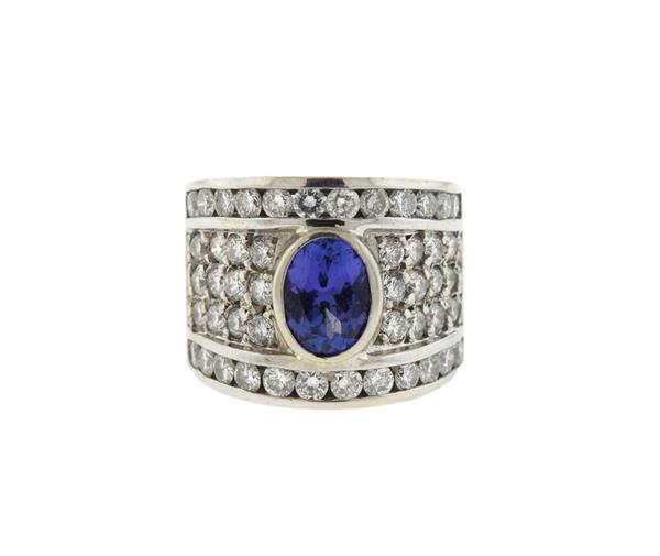 14K Gold Diamond Tanzanite Wide Band Ring