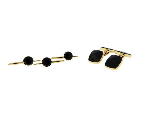 Lindsay & Co 14K Gold Onyx Cufflinks Stud Set