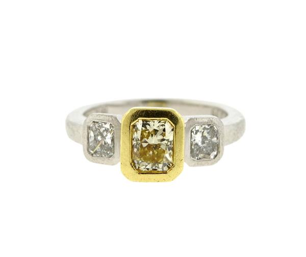 18K Gold Platinum Diamond Engagement Ring