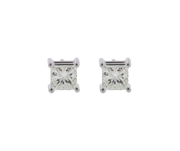 AGS Cert 14K Gold Diamond Stud Earrings