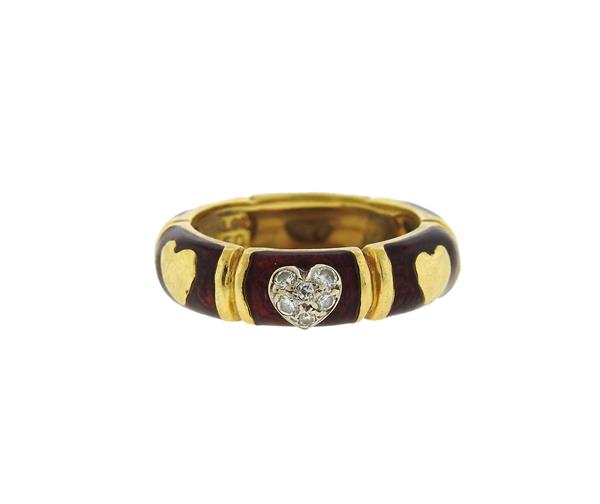 Hidalgo 18K Gold Red Enamel Diamond Band Ring