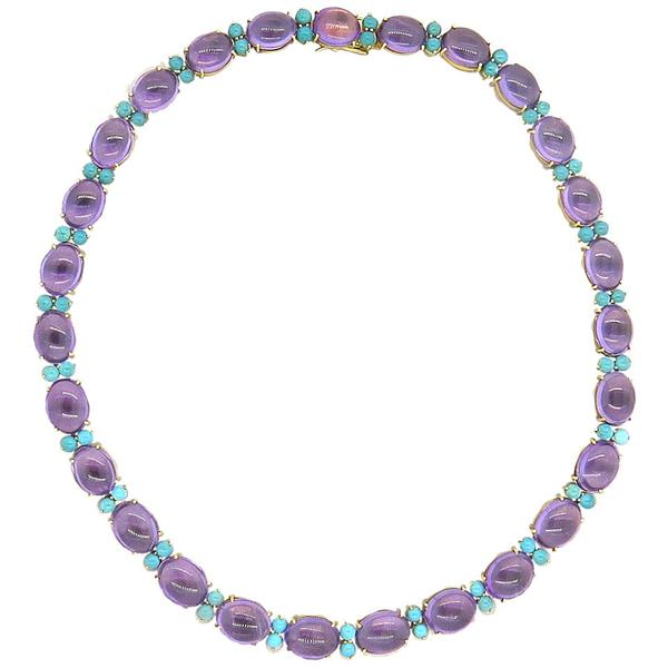 1960s Turquoise Amethyst 18k Gold Necklace