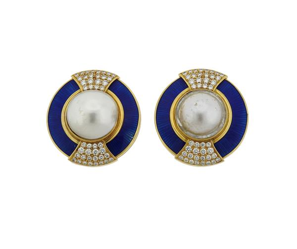 Large Leo de Vroomen Gold Diamond Pearl Enamel Earrings
